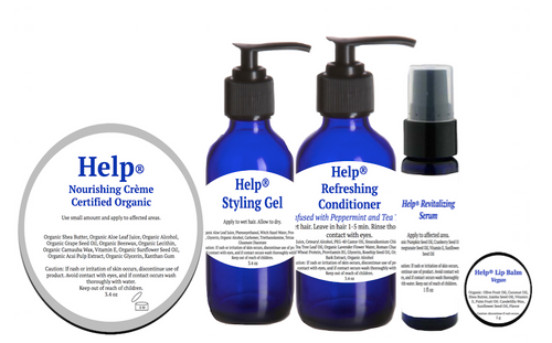 Help® Grooming Collection- Includes Help®Styling Gel, Nourishing Creme,Revitalizing Serum, Refreshing Conditioner, plus free Vegan Lip Balm with entire set!