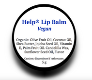 Help® Lip Balm- Vegan (5g)-  A special blend of 5 Organic Oils. With a kiss of natural peppermint flavor and a sweet light minty taste.