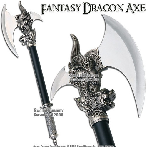 Dragon King Fantasy Medieval Battle Axe With Plaque Amp Dagger