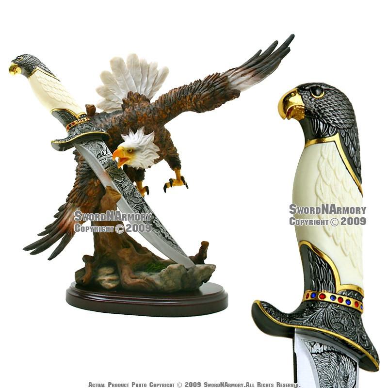American Bald Eagle Statue Figurine W Dagger Short Sword