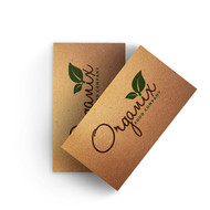 Extra thick and durable Kraft chipboard business cards. 100% recycled paper. Business Cards printed in Atlanta