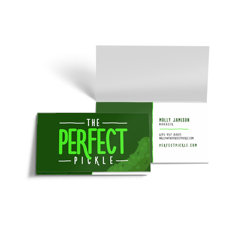 Folded business cards full color with gloss or matte finish
