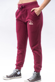 Burgundy Joggers with Creme Logo