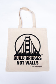 Build Bridges Not Walls Natural Tote with Black design