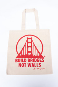 Build Bridges Not Walls Natural Tote with Red Print