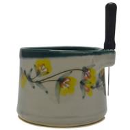 Dip Bowl with Spreader Knife - Gold Flower Vine