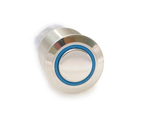 16 mm, sealed, anti vandal, push button, latching, blue, illuminated, 110 volt