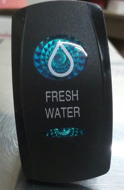 Fresh Water Switch Cover, Black with 1 Blue Oval Lens, 1 Blue Bar Lens, Carling, rocker switch actuator
