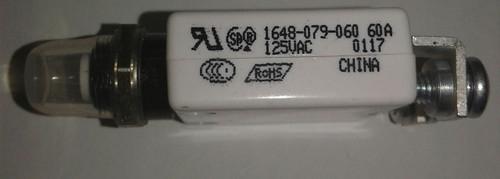 1648-079-060 Push to reset 60 amp circuit breaker, 15/32 metal bushing with step