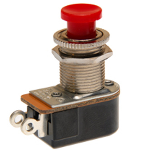 push button switch, momentary on, off, solder terminals, red button, Carling, P27A-RD