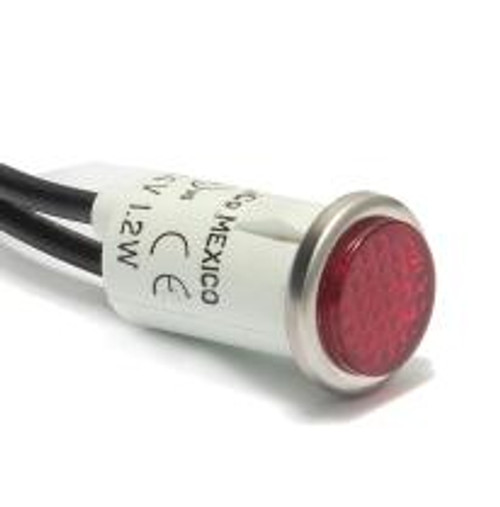 indicator light, 14 volt incandescent, wire leads, red cylinder diamond lens, 2935-1-11-37310