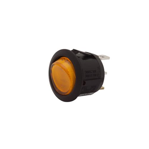 round rocker, on off, illuminated, lit, spst, amber lens, 12 volt, quick connect,