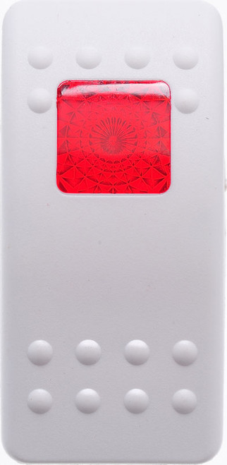 Carling, v series, hard white, 1 red square lens, contura II, switch cap, actuator, VVARY00-000