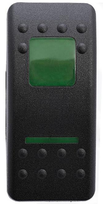 Carling, v series, hard black, 1 green bar lens & 1 green square lens, special, switch cap, actuator, VVAXC00-000