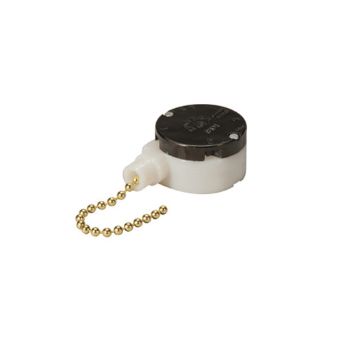 Fan pull chain switch, off on on on, 2.5 inch brass pull chain, ideal for fans, home appliances and sign applications