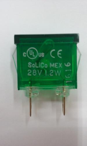 indicator light, rectangular, 28 volt, green, spade terminals, frosted lens