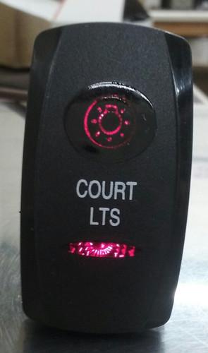 Court Lights switch cover, rocker switch, court lights legend, black, 2 red lenses, Carling