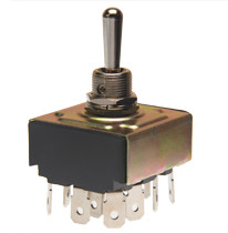 toggle switch, 4 pole, on off on, quick connect terminals