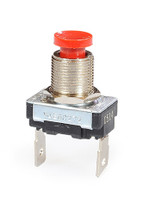 single pole push button, off - momentary on, red horn button, quick connect terminals