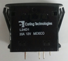 carling, L Series, rocker switch, on on, double pole, dependent lamp, amber LED, raised bracket, L24D1DN01-00000-000