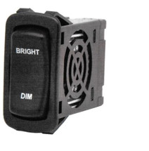 "L Series Rocker Electronic Dimmer Switch, Black with (2) 12 volt Red LEDs, ""Bright-Dim"" laser etched on Actuator, Carling LD3A1CC1-3AAFE-1FC"