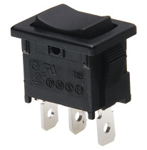 miniature rocker switch, single pole, on off on, maintained, quick connects