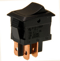 miniature rocker switch, double pole, on off, quick connects, maintained