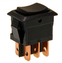 miniature rocker switch, on off on, double pole, quick connects, maintained
