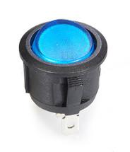 round rocker, on off, fully illuminated, blue lit rocker, single pole