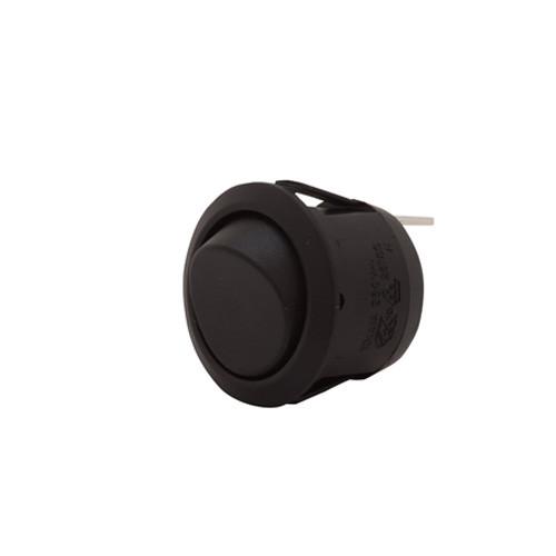 SPDT On-Off-On Black Rocker, 187 tabs, round rocker switch, quick connects