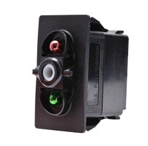 switch, marine, auto, rocker, on-off, single pole, sealed, Carling, V Series, two lamps, lit switch, V1D1JHCB, RCV-00107587, one green lamp & one red lamp