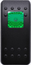 Carling, V Series, switch cap, actuator, hard black,  1 green square lens, Contura II, VVAKC00-000