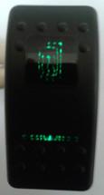 Carling, V series, actuator, rocker switch, heated mirror legend, 2 green lens