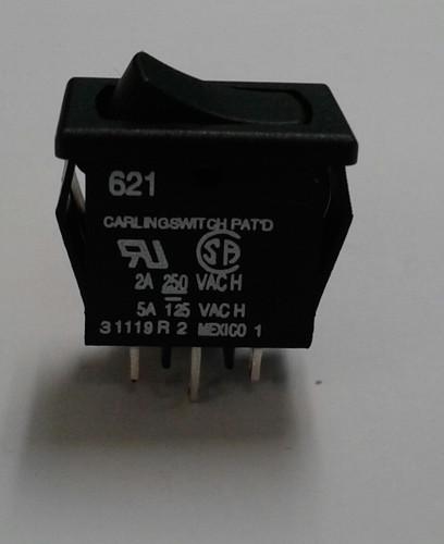 Carling Miniature Rocker Switch, single pole, on-on, solder terminals, 621-11221-0-0-N