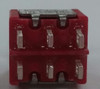 miniature toggle switch, solder lugs, double pole, momentary, spring return to center off, e switch, 100dp4t1b1m1qeh