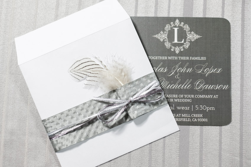 Wedding Invitations - Feather Inspired Wedding Details - Moonlight ...