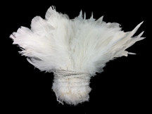 1 Yard - Natural WHITE Strung Rooster Schlappen Wholesale Feathers (bulk)