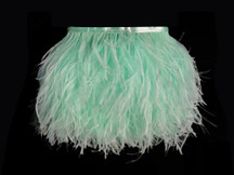1 Yard - Mint Green Ostrich Fringe Trim Wholesale Feather (Bulk)