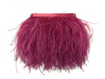 1 Yard - Burgundy Ostrich Fringe Trim Wholesale Feather (Bulk)