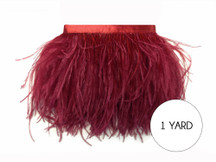 1 Yard - Burgundy Ostrich Fringe Trim Wholesale Feather (Bulk)