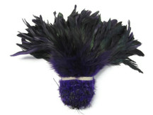 1 Yard - Purple Half Bronze Strung Rooster Schlappen Wholesale Feathers (Bulk)