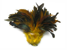 1 Yard - Yellow Half Bronze Strung Rooster Schlappen Wholesale Feathers (Bulk)