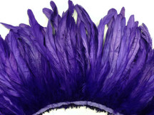 2.5  Inch Strip -  Eggplant Strung Natural Bleach And Dyed Coque Tails Feathers