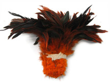 1 Yard - Orange Half Bronze Strung Rooster Schlappen Wholesale Feathers (Bulk)