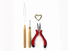 Feather Hair Extension Pliers And Hook Pulling Needle Tool Kit With Silicone Beads