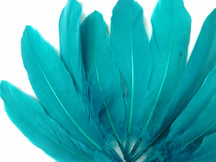1/4 Lb - Peacock Blue Goose Satinettes Wholesale Loose Feathers (Bulk)