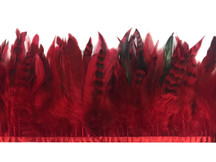 1 Yard - Red Chinchilla Rooster Schlappen Feather Trim