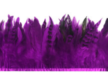 1 Yard - Purple Chinchilla Rooster Schlappen Feathers Trim