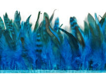 1 Yard - Blue Chinchilla Rooster Feathers Trim