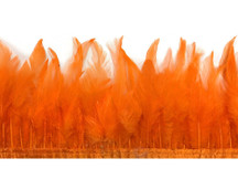 1 Yard - Pumpkin Orange Rooster Neck Saddle Hackle Feather Wholesale Trim